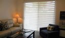 Liv rm with privacy blinds