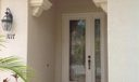 Front door with leaded glass insets