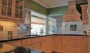 Kitchen overlooks pool