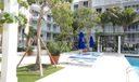 Pool with Blue umbrellas
