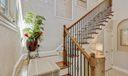 oak steps /wrought iron railing