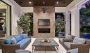 Covered lanai/w linear fireplace