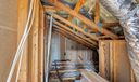 Attic space shows insulation