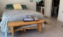 Master bedroom with modern grey wide plank oak wood quality  floor